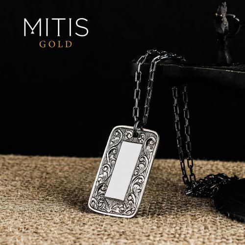 Bitkisel Orlementli Gümüş Kadın Kolyesi ( Zincirsiz )