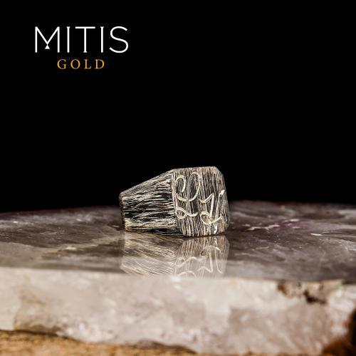 Eskitme Tarzlı Harf İşlemeli Gümüş Yüzük