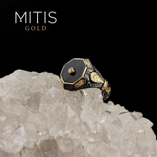 Onyx Ve Yarı Değerli Taşlı Gümüş Yüzük