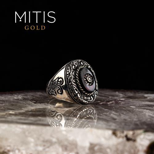 Sıkma Kehribarlı Yarı Değerli Taşlı Gümüş Yüzük