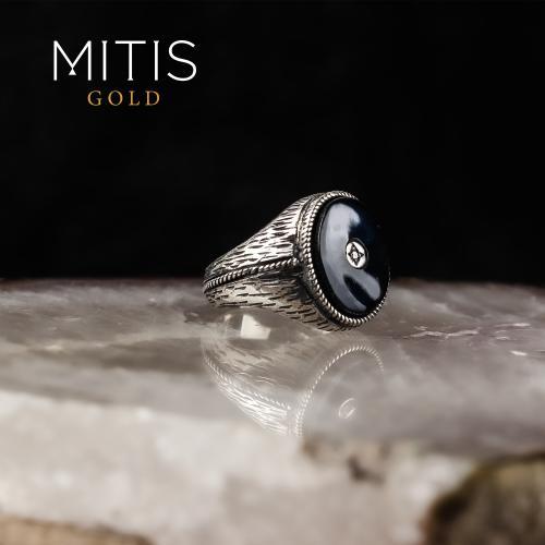 Telkari İşi Yarı Değerli Taşlı Gümüş Yüzük